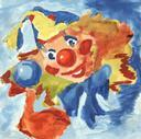 A clown comes up to you and gives you a balloon animal.