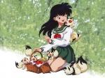 How does Kagome travel through the two worlds?