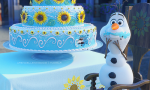 What does Olaf do after he eats some of the cake?