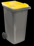The recycling bin has a yellow lid.