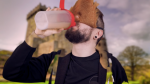 What's he drinking?