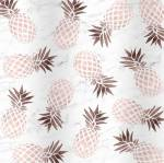 Rose gold pineapples on marble background